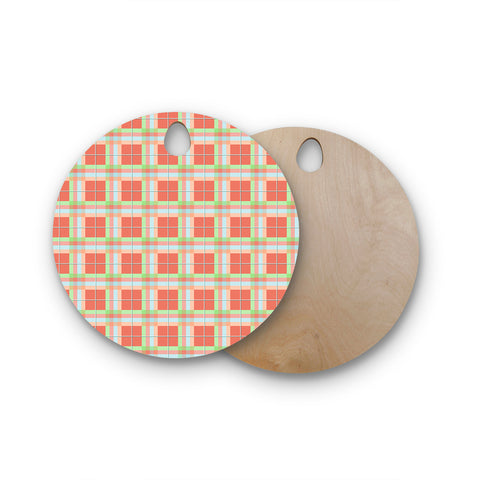 "afe images ""Summer Plad Pattern"" Round Wooden Cutting Board"