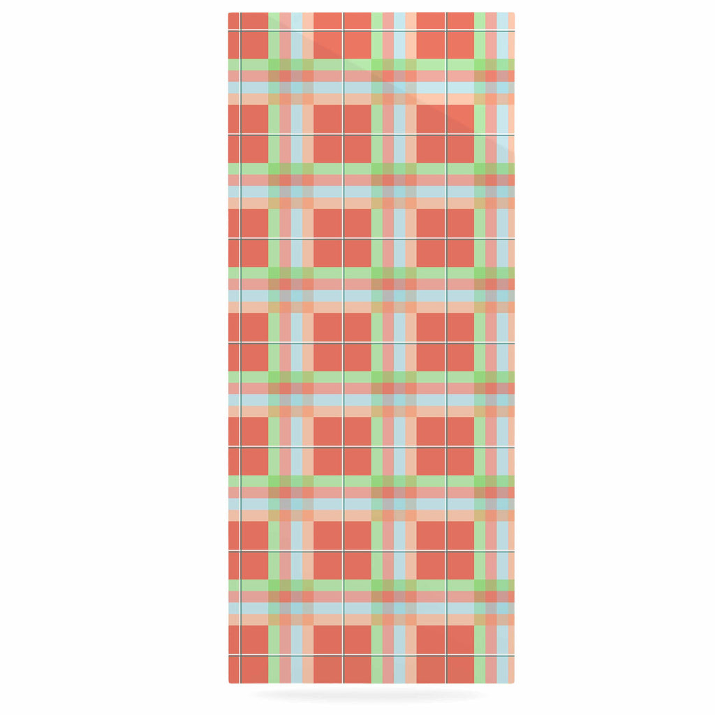 "afe images ""Summer Plaid Pattern"" Coral Pattern Luxe Rectangle Panel - KESS InHouse  - 1"