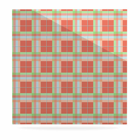 "afe images ""Summer Plaid Pattern"" Coral Pattern Luxe Square Panel - KESS InHouse  - 1"