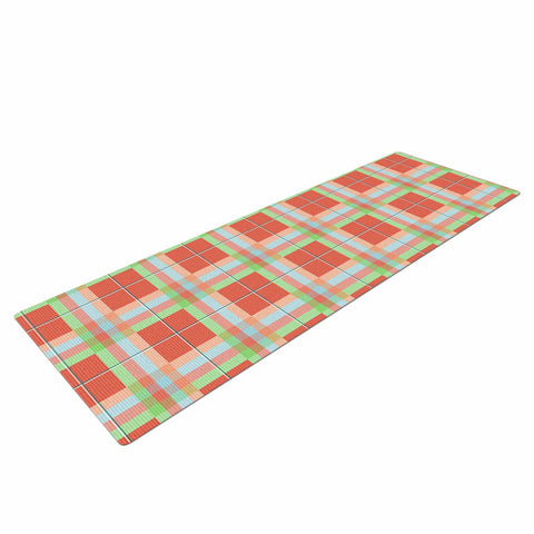 "afe images ""Summer Plaid Pattern"" Coral Pattern Yoga Mat - KESS InHouse  - 1"