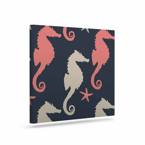 "afe images ""Gray and Coral Seahorses"" Coral Gray Digital Canvas Art - KESS InHouse  - 1"