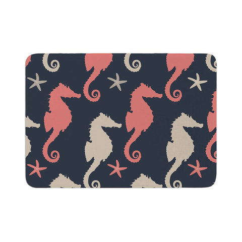 "afe images ""Gray and Coral Seahorses"" Coral Gray Digital Memory Foam Bath Mat - KESS InHouse"