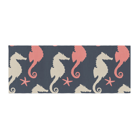 "afe images ""Gray and Coral Seahorses"" Coral Gray Digital Bed Runner - KESS InHouse  - 1"