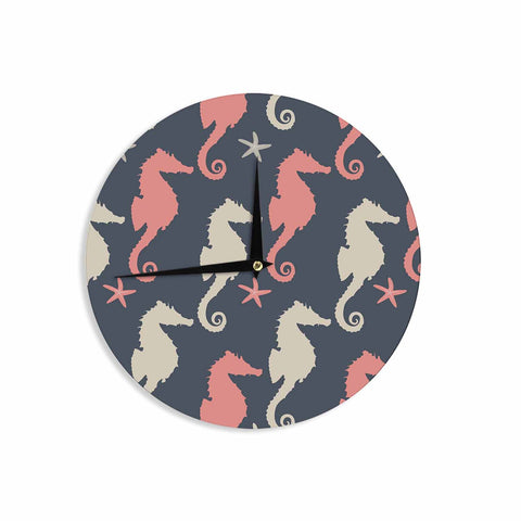 "afe images ""Gray and Coral Seahorses"" Coral Gray Digital Wall Clock - KESS InHouse"