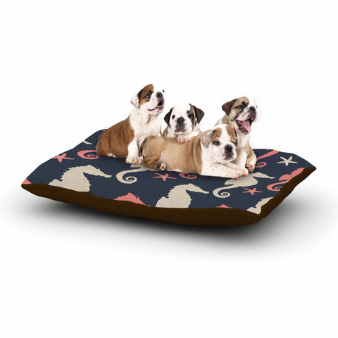 "afe images ""Gray and Coral Seahorses"" Coral Gray Digital Dog Bed - KESS InHouse  - 1"