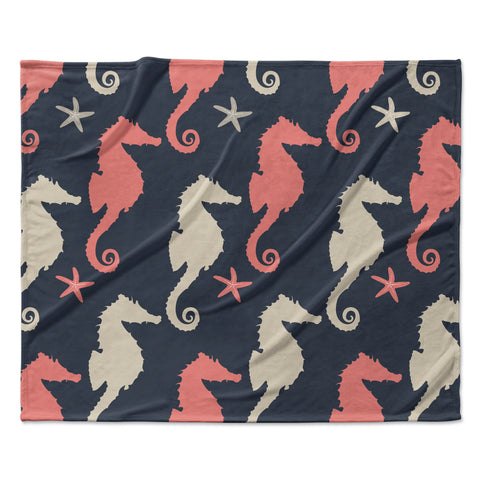 "afe images ""Gray and Coral Seahorses"" Coral Gray Digital Fleece Throw Blanket"