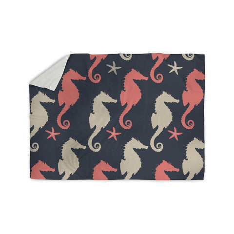 "afe images ""Gray and Coral Seahorses"" Coral Gray Digital Sherpa Blanket - KESS InHouse"