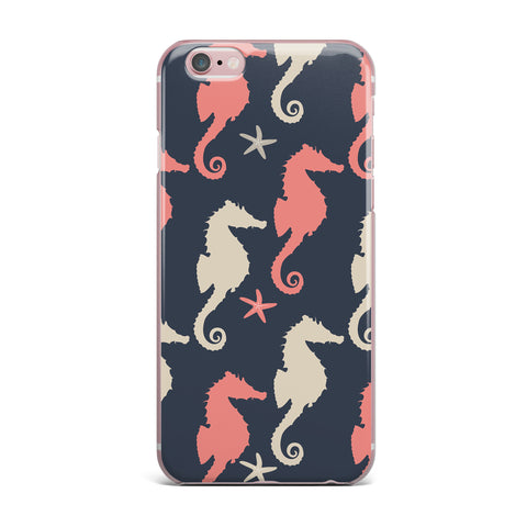"afe images ""Gray and Coral Seahorses"" Coral Gray Digital iPhone Case - KESS InHouse"