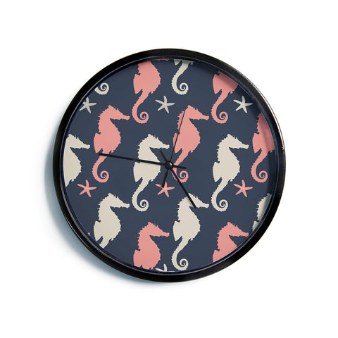 "AFE Images ""Gray And Coral Seahorses"" Coral Gray Nautical Pattern Digital Illustration Modern Wall Clock"