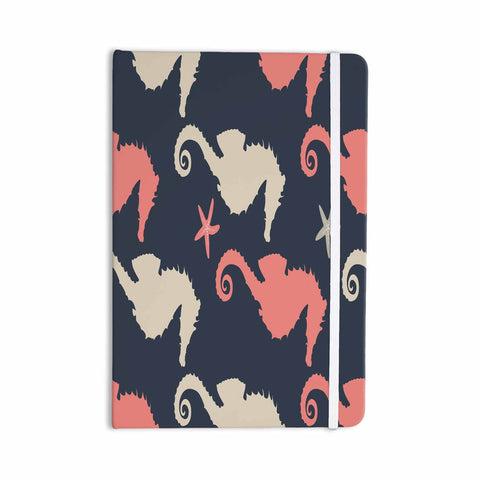 "afe images ""Gray and Coral Seahorses"" Coral Gray Digital Everything Notebook - KESS InHouse  - 1"