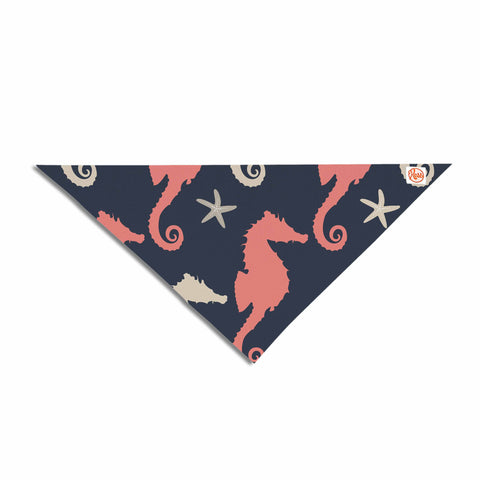 "afe images ""Gray and Coral Seahorses"" Coral Gray Digital Pet Bandana - KESS InHouse  - 1"