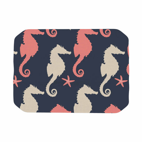 "afe images ""Gray and Coral Seahorses"" Coral Gray Digital Place Mat - KESS InHouse"
