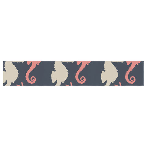 "afe images ""Gray and Coral Seahorses"" Coral Gray Digital Table Runner - KESS InHouse  - 1"