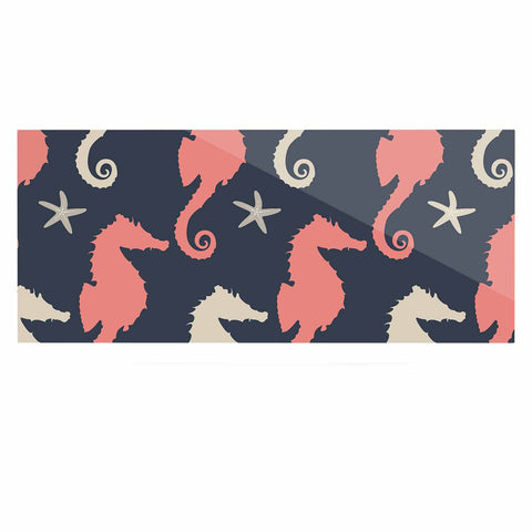 "afe images ""Gray and Coral Seahorses"" Coral Gray Digital Luxe Rectangle Panel - KESS InHouse  - 1"