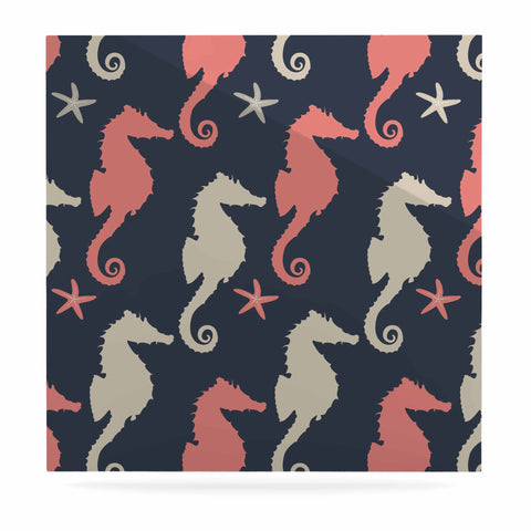 "afe images ""Gray and Coral Seahorses"" Coral Gray Digital Luxe Square Panel - KESS InHouse  - 1"