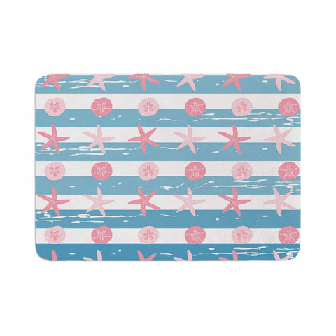 "afe images ""Starfish And Sand Dollar Pattern"" Pink Blue Digital Memory Foam Bath Mat - KESS InHouse"