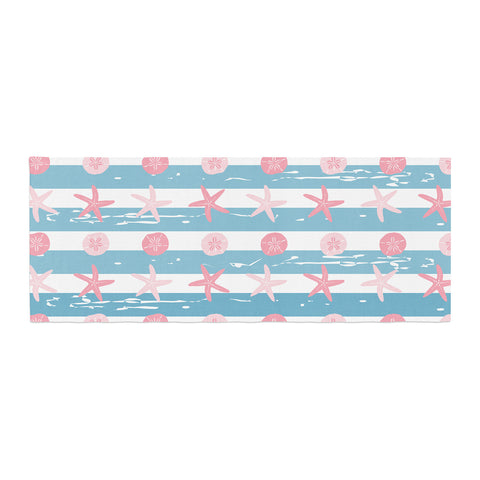 "afe images ""Starfish And Sand Dollar Pattern"" Pink Blue Digital Bed Runner - KESS InHouse  - 1"