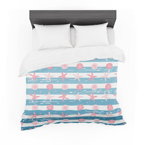 "afe images ""Starfish And Sand Dollar Pattern"" Pink Blue Digital Featherweight Duvet Cover"