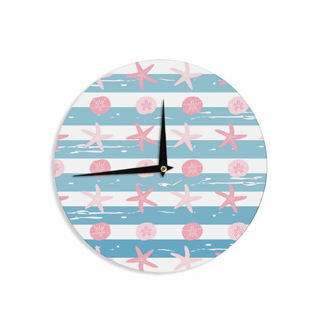 "afe images ""Starfish And Sand Dollar Pattern"" Pink Blue Digital Wall Clock - KESS InHouse"