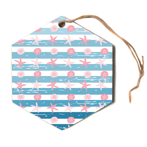 "afe images ""Starfish And Sand Dollar Patte"" Pink Blue Nautical Pattern Digital Illustration Hexagon Holiday Ornament"