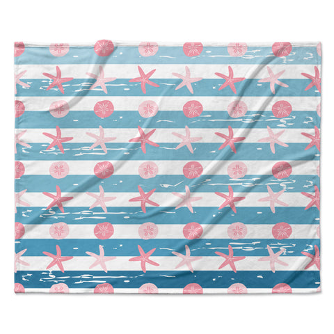 "afe images ""Starfish And Sand Dollar Pattern"" Pink Blue Digital Fleece Throw Blanket"