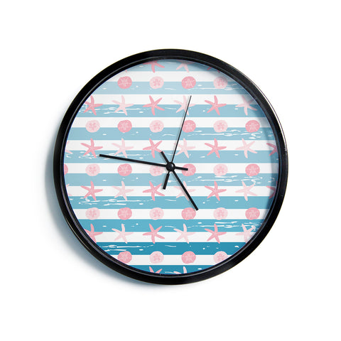 "AFE Images ""Starfish And Sand Dollar Patte"" Pink Blue Nautical Pattern Digital Illustration Modern Wall Clock"