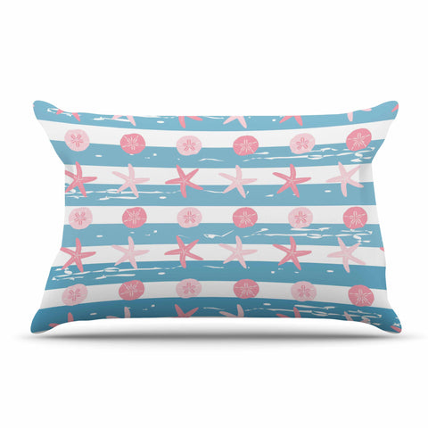 "afe images ""Starfish And Sand Dollar Pattern"" Pink Blue Digital Pillow Sham - KESS InHouse  - 1"