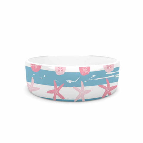 "afe images ""Starfish And Sand Dollar Pattern"" Pink Blue Digital Pet Bowl - KESS InHouse"