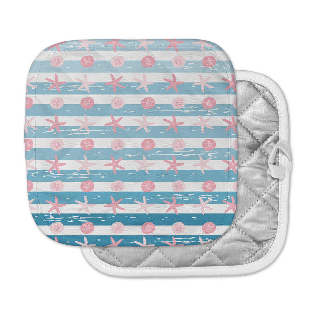 "afe images ""Starfish And Sand Dollar Pattern"" Pink Blue Digital Pot Holder"