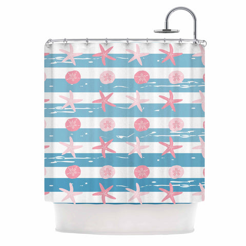 "afe images ""Starfish And Sand Dollar Pattern"" Pink Blue Digital Shower Curtain - KESS InHouse"