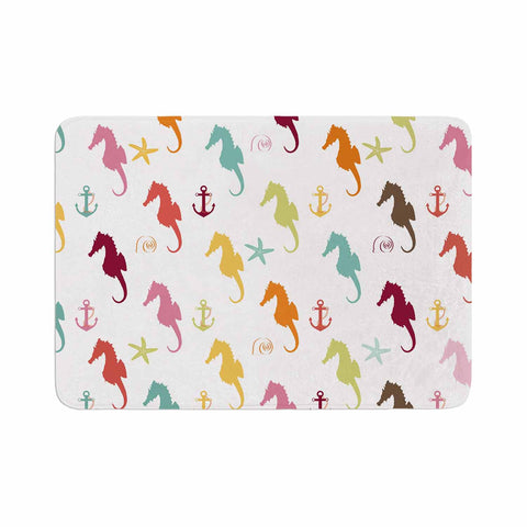 "afe images ""Colorful Seahorse Pattern"" Orange Yellow Illustration Memory Foam Bath Mat - KESS InHouse"
