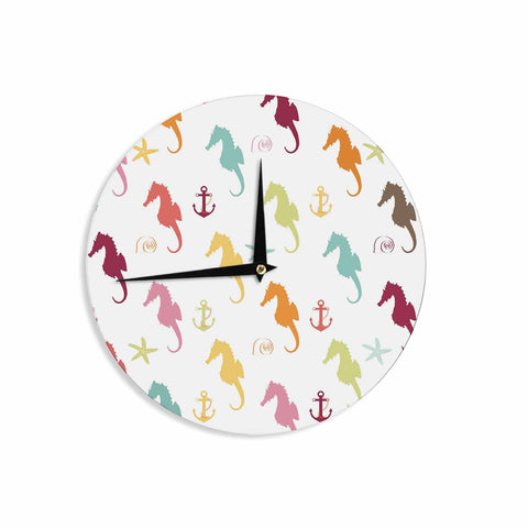 "afe images ""Colorful Seahorse Pattern"" Orange Yellow Illustration Wall Clock - KESS InHouse"