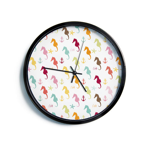 "AFE Images ""Colorful Seahorse Pattern"" Orange Yellow Nautical Pattern Illustration Modern Wall Clock"