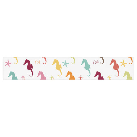 "afe images ""Colorful Seahorse Pattern"" Orange Yellow Illustration Table Runner - KESS InHouse  - 1"