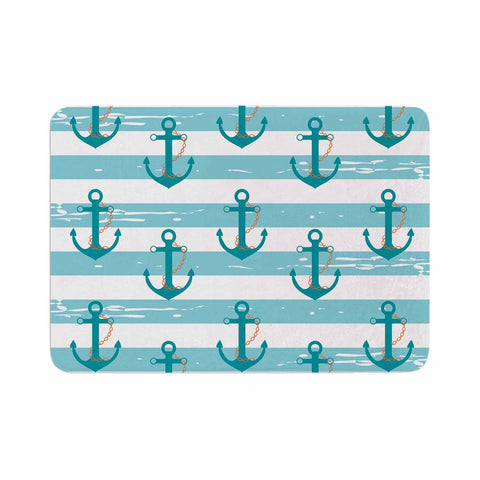 "afe images ""Nautical Anchor Pattern"" Teal Blue Illustration Memory Foam Bath Mat - KESS InHouse"