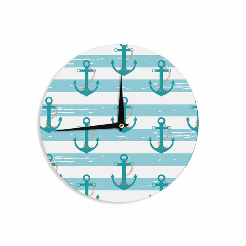 "afe images ""Nautical Anchor Pattern"" Teal Blue Illustration Wall Clock - KESS InHouse"