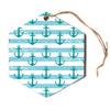 "afe images ""Nautical Anchor Pattern"" Teal Blue Nautical Pattern Illustration Digital Hexagon Holiday Ornament"