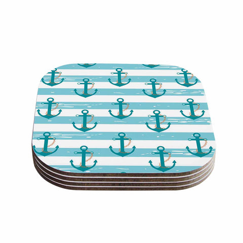 "afe images ""Nautical Anchor Pattern"" Teal Blue Illustration Coasters (Set of 4)"