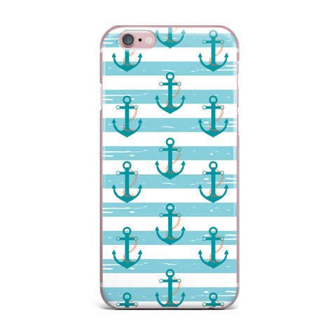 "afe images ""Nautical Anchor Pattern"" Teal Blue Illustration iPhone Case - KESS InHouse"