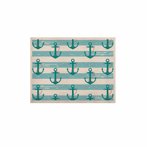 "afe images ""Nautical Anchor Pattern"" Teal Blue Illustration KESS Naturals Canvas (Frame not Included) - KESS InHouse  - 1"