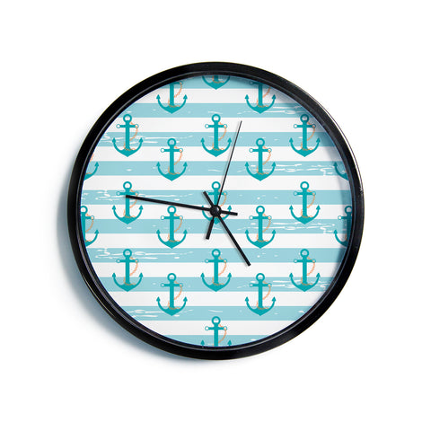 "AFE Images ""Nautical Anchor Pattern"" Teal Blue Nautical Pattern Illustration Digital Modern Wall Clock"