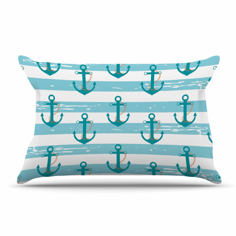 "afe images ""Nautical Anchor Pattern"" Teal Blue Illustration Pillow Sham - KESS InHouse  - 1"