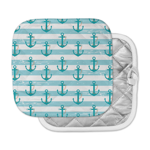 "afe images ""Nautical Anchor Pattern"" Teal Blue Illustration Pot Holder"