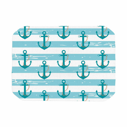 "afe images ""Nautical Anchor Pattern"" Teal Blue Illustration Place Mat - KESS InHouse"