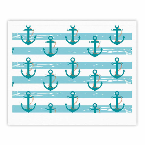 "afe images ""Nautical Anchor Pattern"" Teal Blue Illustration Fine Art Gallery Print - KESS InHouse"