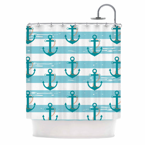 "afe images ""Nautical Anchor Pattern"" Teal Blue Illustration Shower Curtain - KESS InHouse"