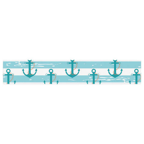 "afe images ""Nautical Anchor Pattern"" Teal Blue Illustration Table Runner - KESS InHouse  - 1"