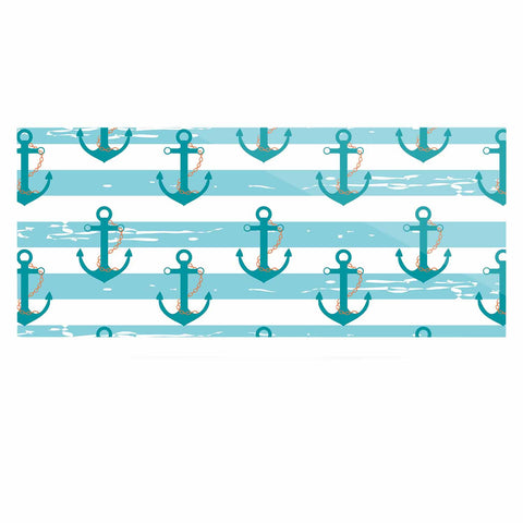 "afe images ""Nautical Anchor Pattern"" Teal Blue Illustration Luxe Rectangle Panel - KESS InHouse  - 1"