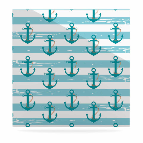 "afe images ""Nautical Anchor Pattern"" Teal Blue Illustration Luxe Square Panel - KESS InHouse  - 1"