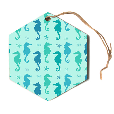 "afe images ""Seahorse Pattern"" Teal Blue Pattern Nautical Illustration Digital Hexagon Holiday Ornament"